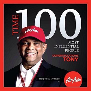 """""""โทนี่เฟอร์นานเดส""""ประธานเจ้าหน้าที่บริหารกลุ่มแอร์เอเชียติด1ใน100ผู้ทรงอิทธิพลของโลก [PR]"""