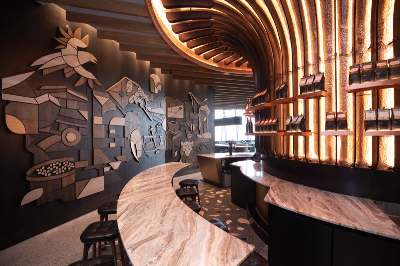 Starbucks Reserve Bar - Wood-carved mural