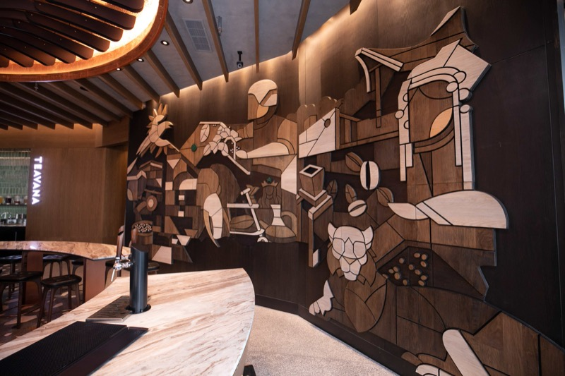 Starbucks Reserve Bar - Wood-carved mural by artist JP Pining
