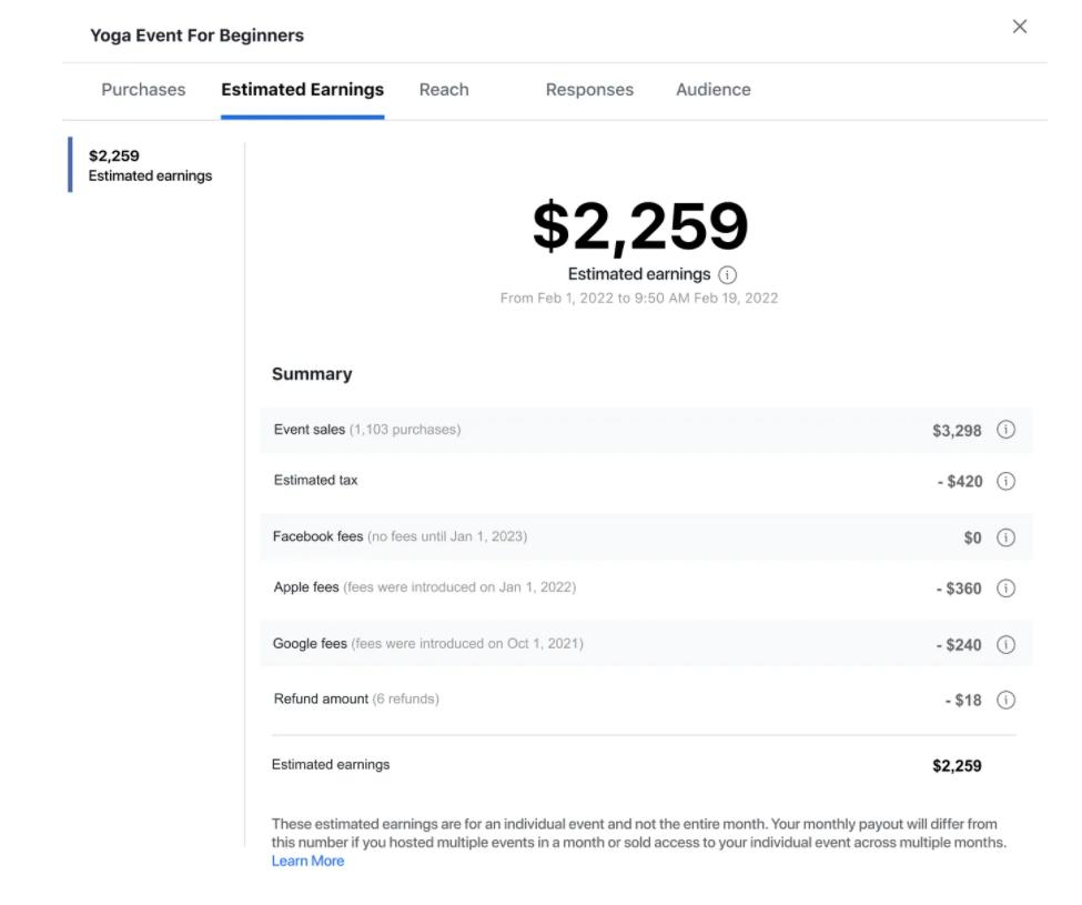 facebook dashboard tax fee